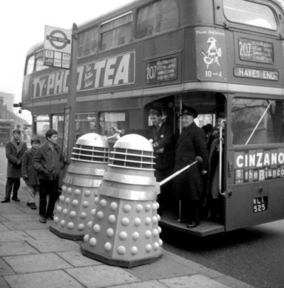 doctor_who_daleks_trying_to_get_on_bus_publicity_shot_c._mid_1960s