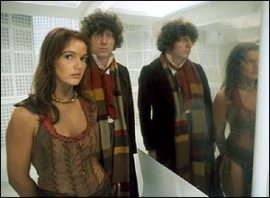 doctor_who_tom_baker_and_louise_jameson_reflected_in_mirror