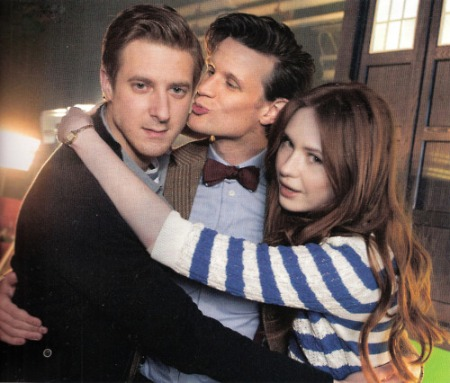 doctor_who_arthur_darvill_matt_smith_and_karen_gillan_posing_on_set