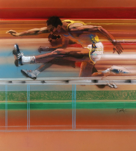 bob_peak_official_1984_olympics_hurdles_poster_for_us_postal_service