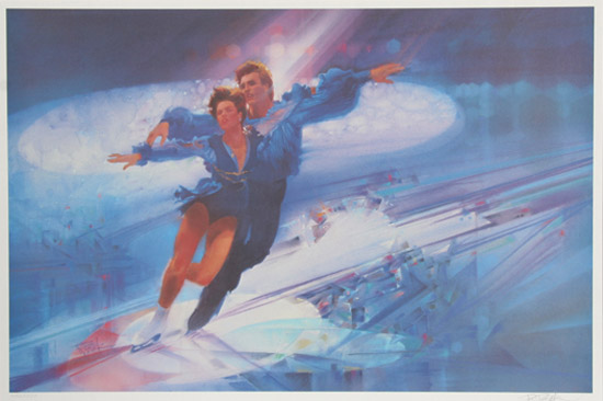 bob_peak_official_1984_olympics_torville_and_dean_iceskating_poster_for_us_postal_service