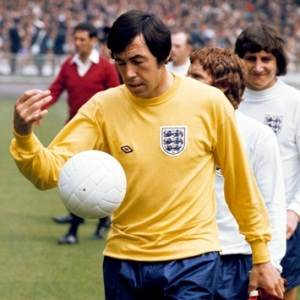 England goalkeeper Gordon Banks leads the team out at Wembley