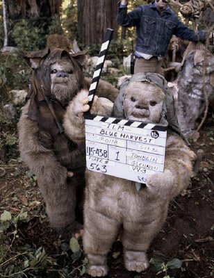 return_of_the_jedi_ewoks_with_a_clappeboard_for_'blue_harvest'
