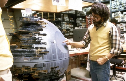 return_of_the_jedi_george_lucas_examines_model_of_the_'new'_death_star