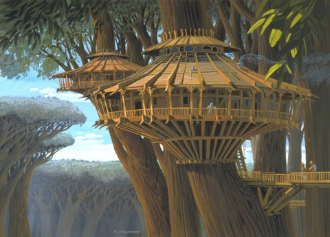 return_of_the_jedi_ralph_mcquarrie_concept_art_for_ewok_village_on_endor