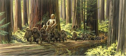 return_of_the_jedi_ralph_mcquarrie_concept_art_for_ewoks_transporting_c3p0
