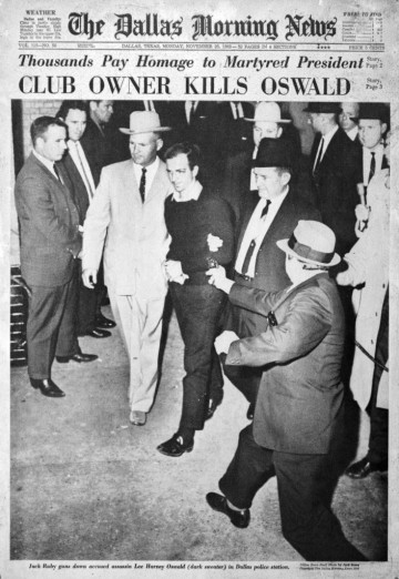john_f_kennedy_assassination_dallas_newspaper_shows_jack_ruby_about_shoot_lee_harvey_oswald_dead_november_24_1963