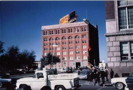 john_f_kennedy_assassination_view_of_the_texas_school_book_depository_on_november_22_1963_the_building_from_which_lee_harvey_oswald_was_alleged_to_have_shot_kennedy