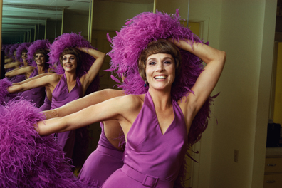 Julie Andrews Wearing Purple Boa