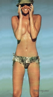 phoebe_cates_modelling_in_sunglasses_hat_and_bikini_bottoms