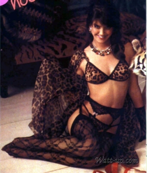 phoebe_cates_modelling_wearing_tiger-print_lingerie