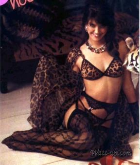 phoebe_cates_modelling_wearing_tiger-print_lingerie