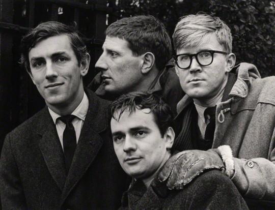NPG x27384; Beyond the Fringe (Peter Cook; Jonathan Miller; Dudley Moore; Alan Bennett) by Lewis Morley