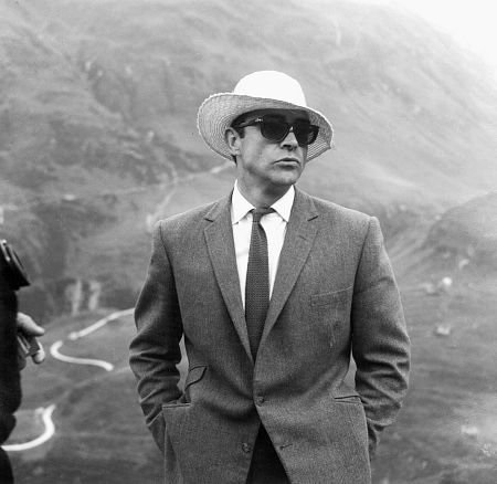 goldfinger_sean_connery_wearing_daft_hat_on_location_in_switzerland