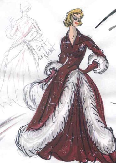 white_christmas_costume_designer_edith_head's_intial_sketch_of_rosemary_clooney's_dress_in_final_scene