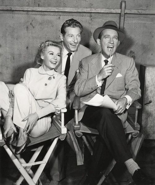 white_christmas_vera ellen_danny_kaye_and_bing_crosby_during_filming white_christmas_rosemary_clooney_on_set_with_bing_crosbys_son_dennis - White Christmas Bing Crosby Movie