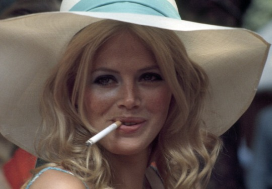 Britt Ekland Smoking A Cigarette