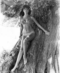 caroline_munro_leaning_on_tree