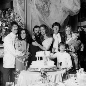 george_and_olivia_harrison_and_paul_and_linda_mccartney_and_ringo_starr_and_barbara_bach's_wedding_1981